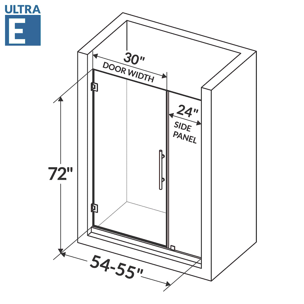 Swing-Out Shower Door with Stationary Panel 54-55W 72H Ultra E Brushed Nickel
