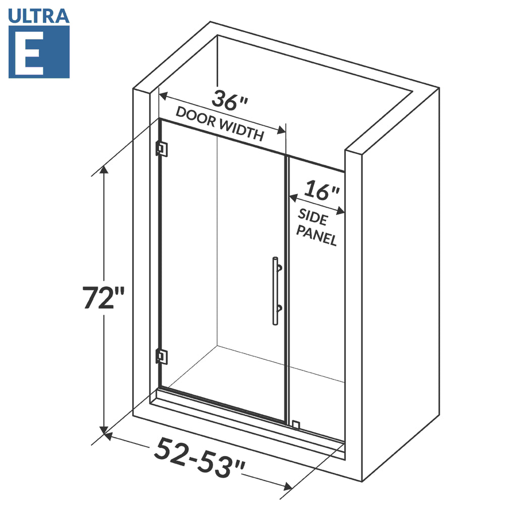 Swing-Out Shower Door with Stationary Panel 52-53W 72H Ultra E Chrome