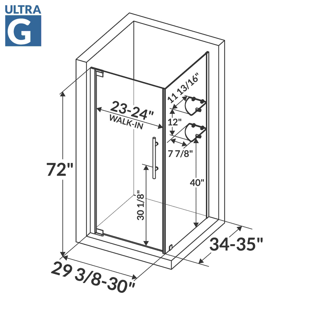 Pivot Swing-Out Shower Door with Enclosure Panel 29 3/8-30W 72H Ultra G Brushed Nickel
