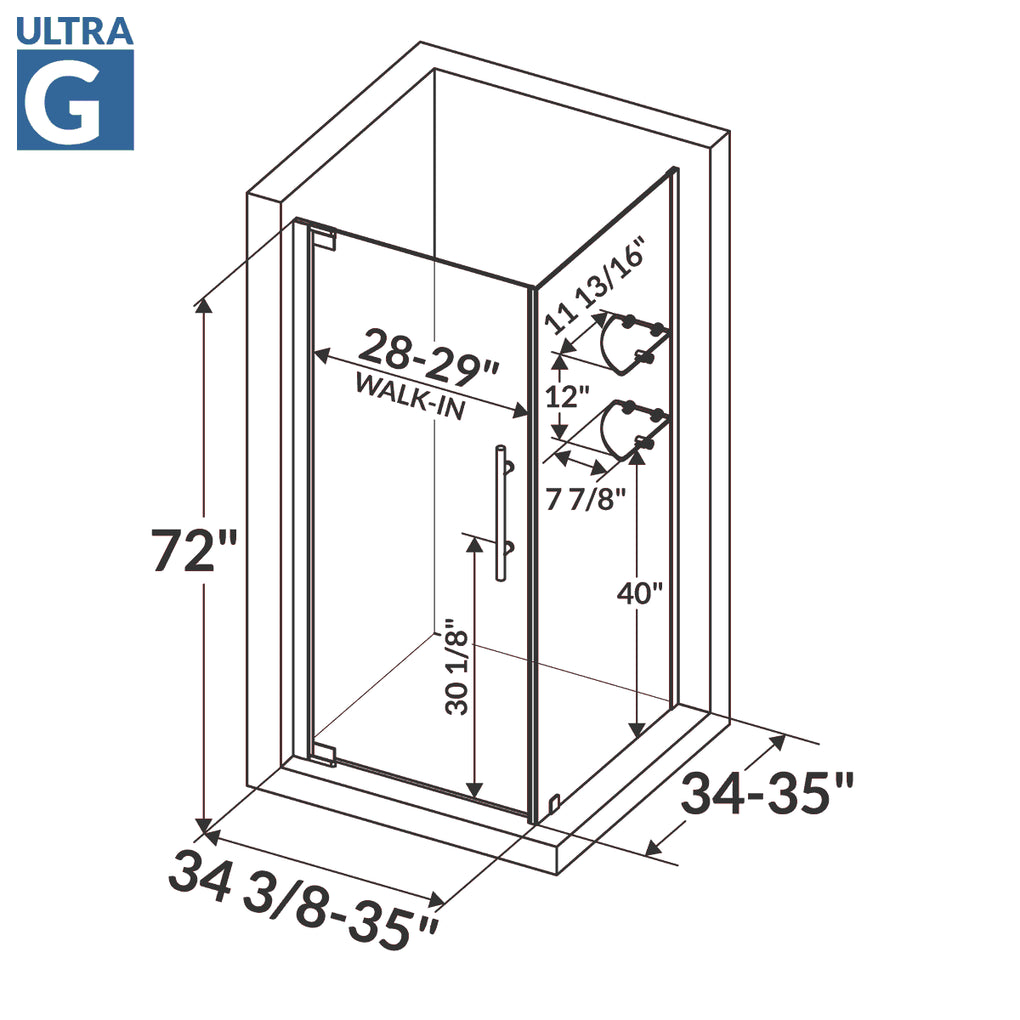 Pivot Swing-Out Shower Door with Stationary Panel 34 3/8-35W 72H Ultra G Chrome