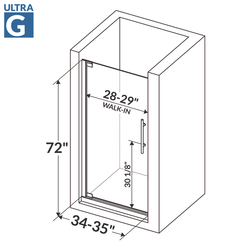 Pivot Swing-Out Shower Door 34-35W 72H Ultra G Brushed Nickel