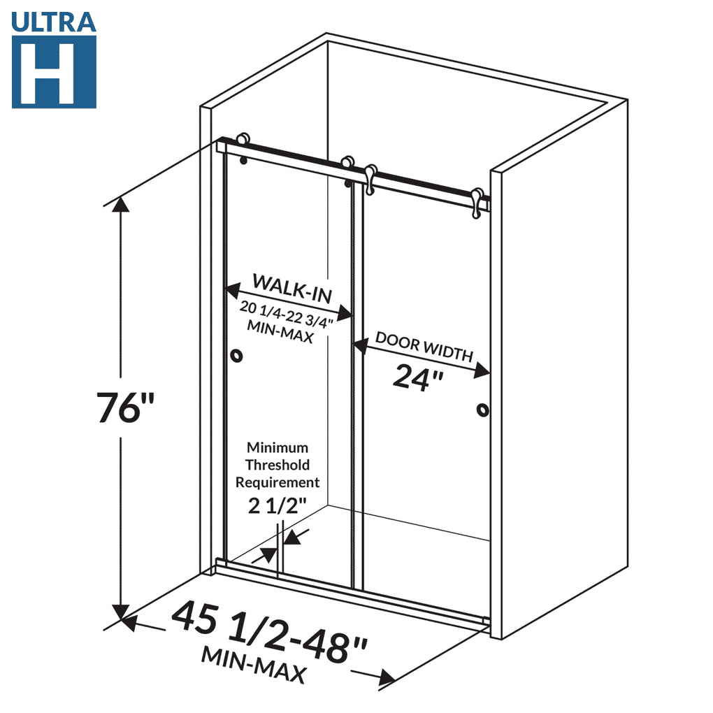 Bypass Sliding Shower Door 45 1/2-48W 76H Ultra H Chrome