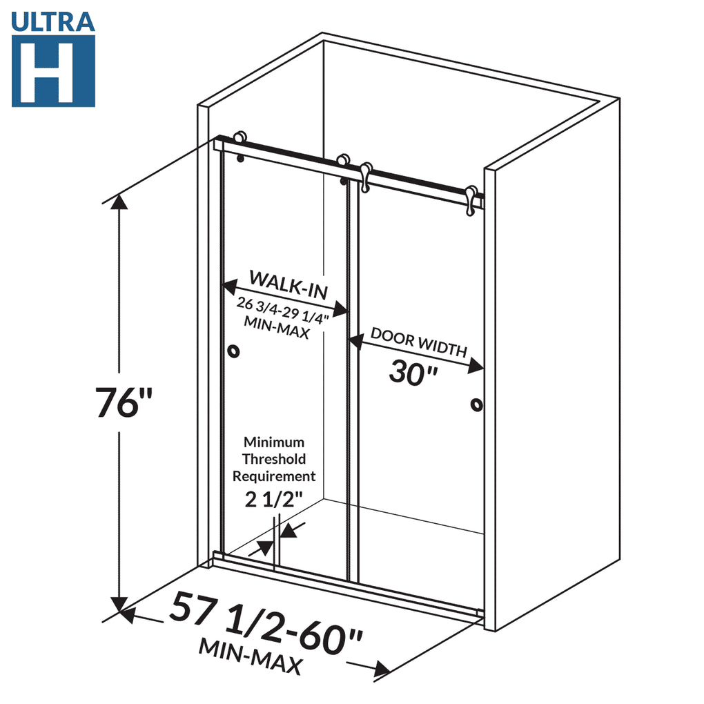 Bypass Sliding Shower Door 57 1/2-60W 76H Ultra H Chrome