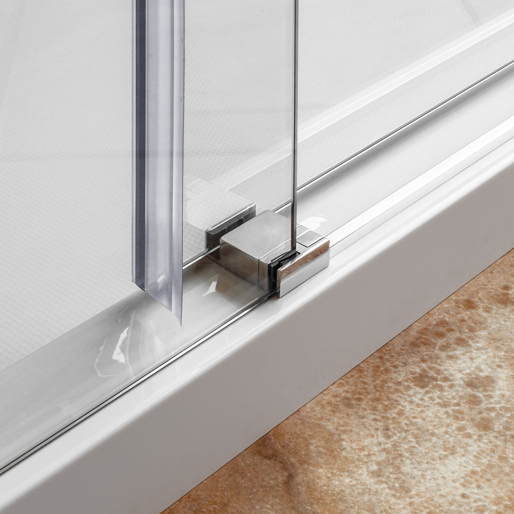 Sliding Shower Door and Enclosure with Stationary Panel 56-60W 76H Ultra C Brushed Nickel