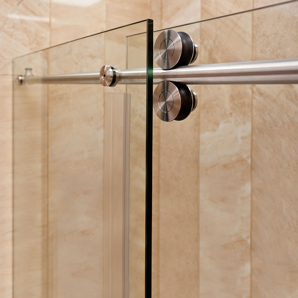 Sliding Shower Door with Two Stationary Panels 68-72W 79H Ultra D Brushed Nickel