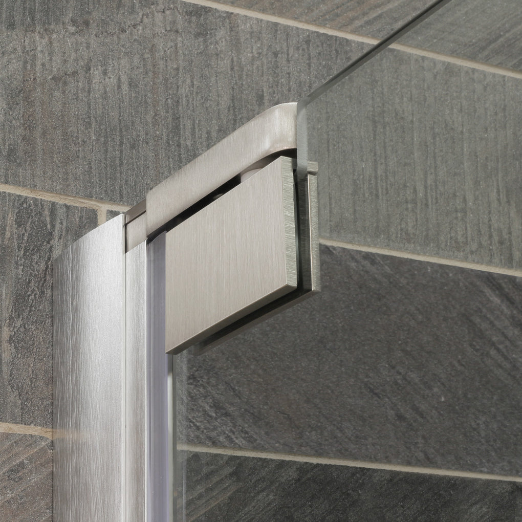 Pivot Swing-Out Shower Door with Stationary Panel 58-60W 72H Ultra G Brushed Nickel