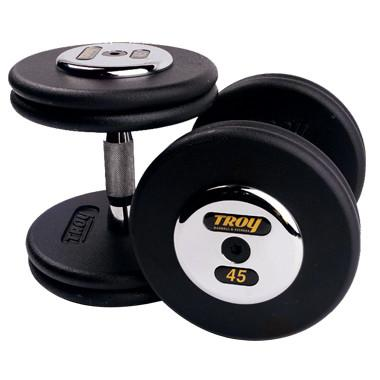Troy Black Pro Style Dumbbells W/Chrome Caps 5 - 50lb Set - Affordable Gym Equipment