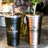 Stainless Tumbler w/drinking straw