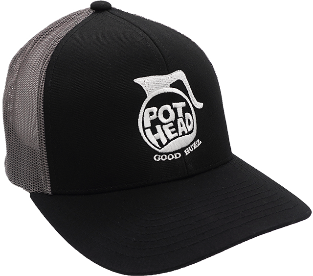 Black/Silver Pothead Trucker Hat