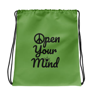 Open Your Mind Drawstring bag green