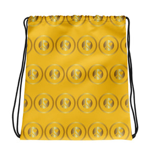 Lunar Grrrs Logo pattern Drawstring bag gold