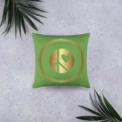 Lunar Grrrs logo Throw Pillow green