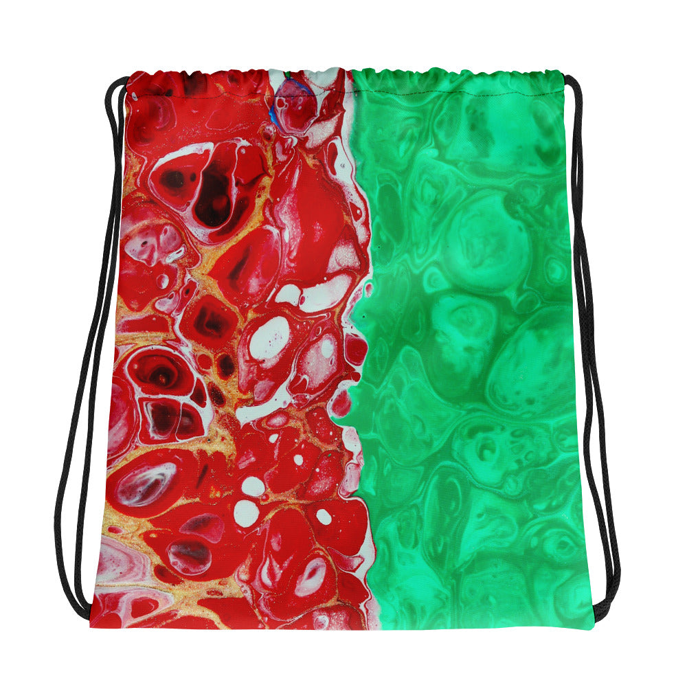 Green Red Swirl Art Drawstring bag