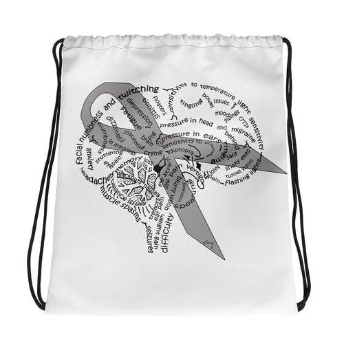 Brain Tumor Symptom Awareness Drawstring bag