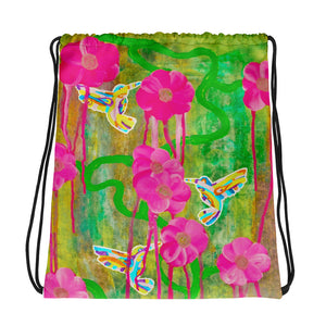 Hummingbird drawstring bag