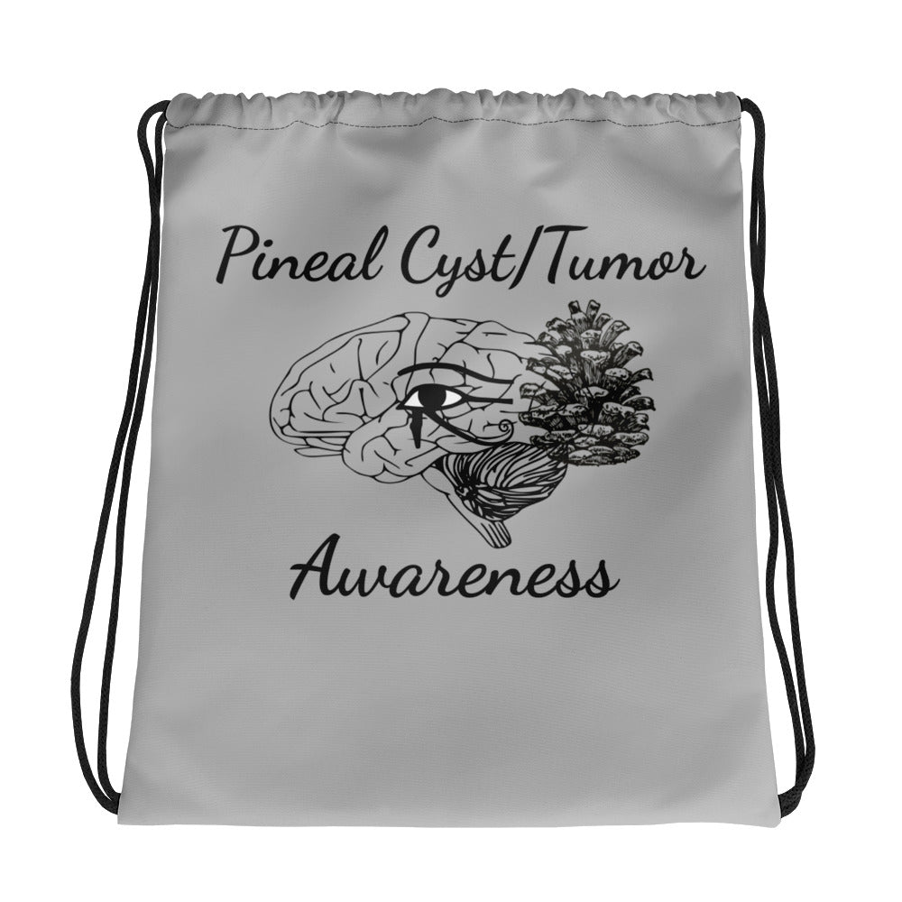 Pineal Cyst Tumor Awareness Drawstring bag gray