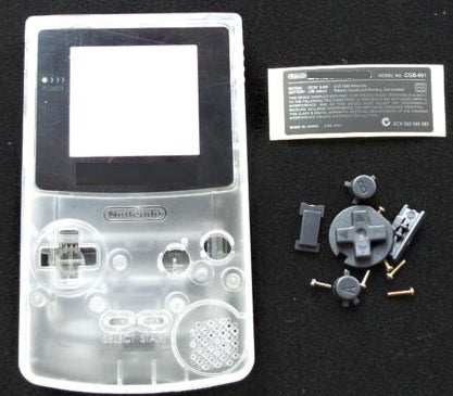 GBC ( gameboy color) Replacement shell TRANSPARENT  WHITE