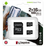 Kingston 16GB  UHS-I microSDHC Memory Card with SD Adapter (2-Pack)