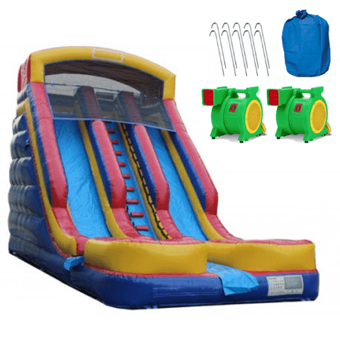 20'H Dual Lane Inflatable Wet/Dry Slide With Pool
