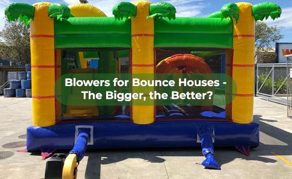 a powerful air blower is inflating a large jump house