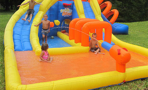 inflatable with water slide for kids