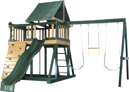 wooden swing set with slide and climbing wall