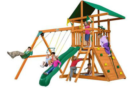 Gorilla Chateau Tower Swing Sets with climbing wall and slide