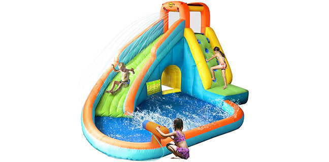 girls playing with residential water slides