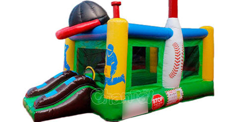 Green color inflatable bounce houses