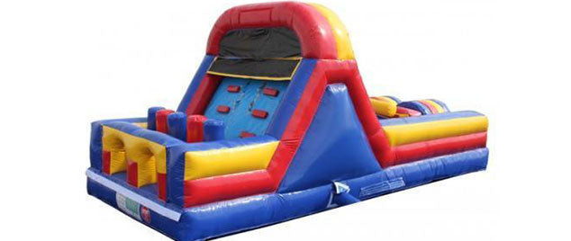 red yellow blue obstacle course - commercial jumpy house