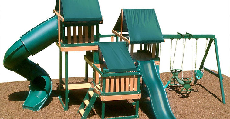 The perfect backyard play kit: Swing sets with monkey bars