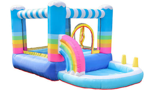 sky blue residential inflatable bouncers