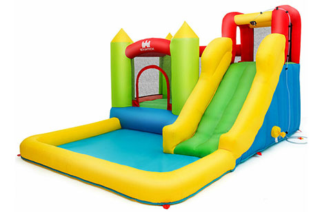 yellow green bounce houses with slides