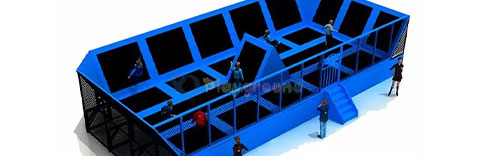 gigantic black blue trampoline with safety net