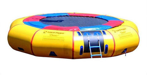 yellow water trampoline to have fun