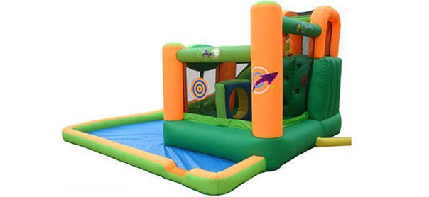 buy green color residential bounce house with water slides