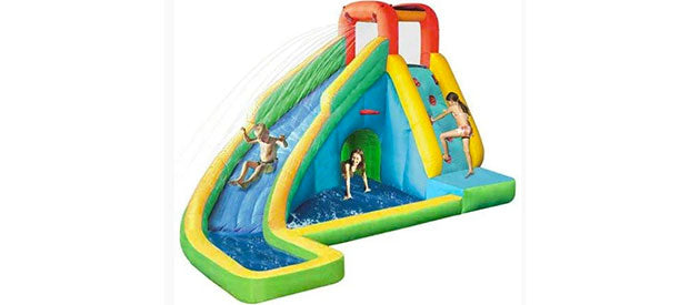 monitor the safety of the kids on inflatable water slides