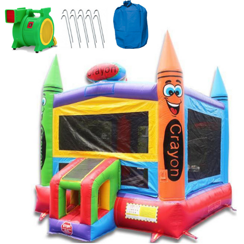 What material makes commercial bounce houses?
