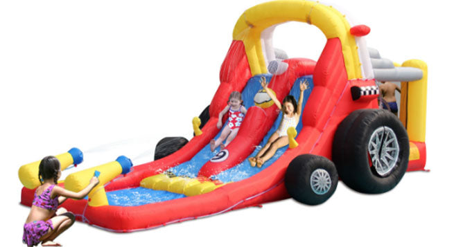 kids having fun with inflatable pool water slides