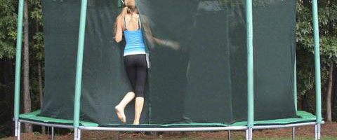women is going to jump on a professional trampoline