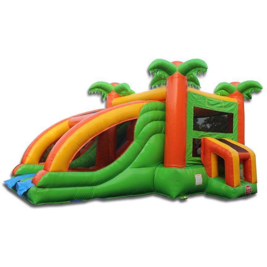 Two-Lane Tropical Bouncer Slide Combo - Dry