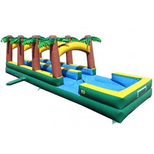 Dual Lane Paradise Inflatable Slip N Slide with Pool