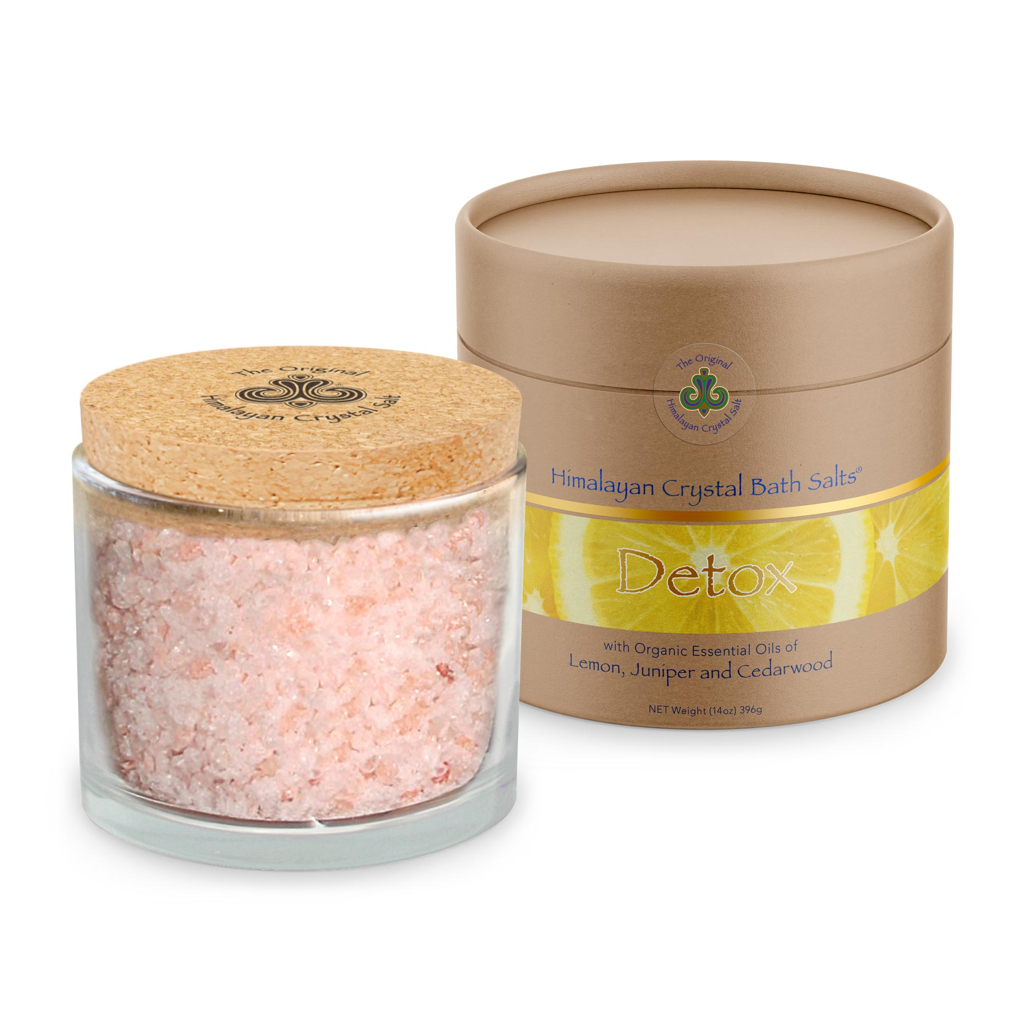 Let go of tension and detoxify in a cleansing salt bath with our Detox Bath Salts made with 100% organic essential oils of juniper, cedarwood, and lemon.  A warm soak in this blend of essential oils chosen to support detox and lymphatic drainage and mineral-rich Original Himalayan Crystal Salt will help you release stored stress and feel renewed.