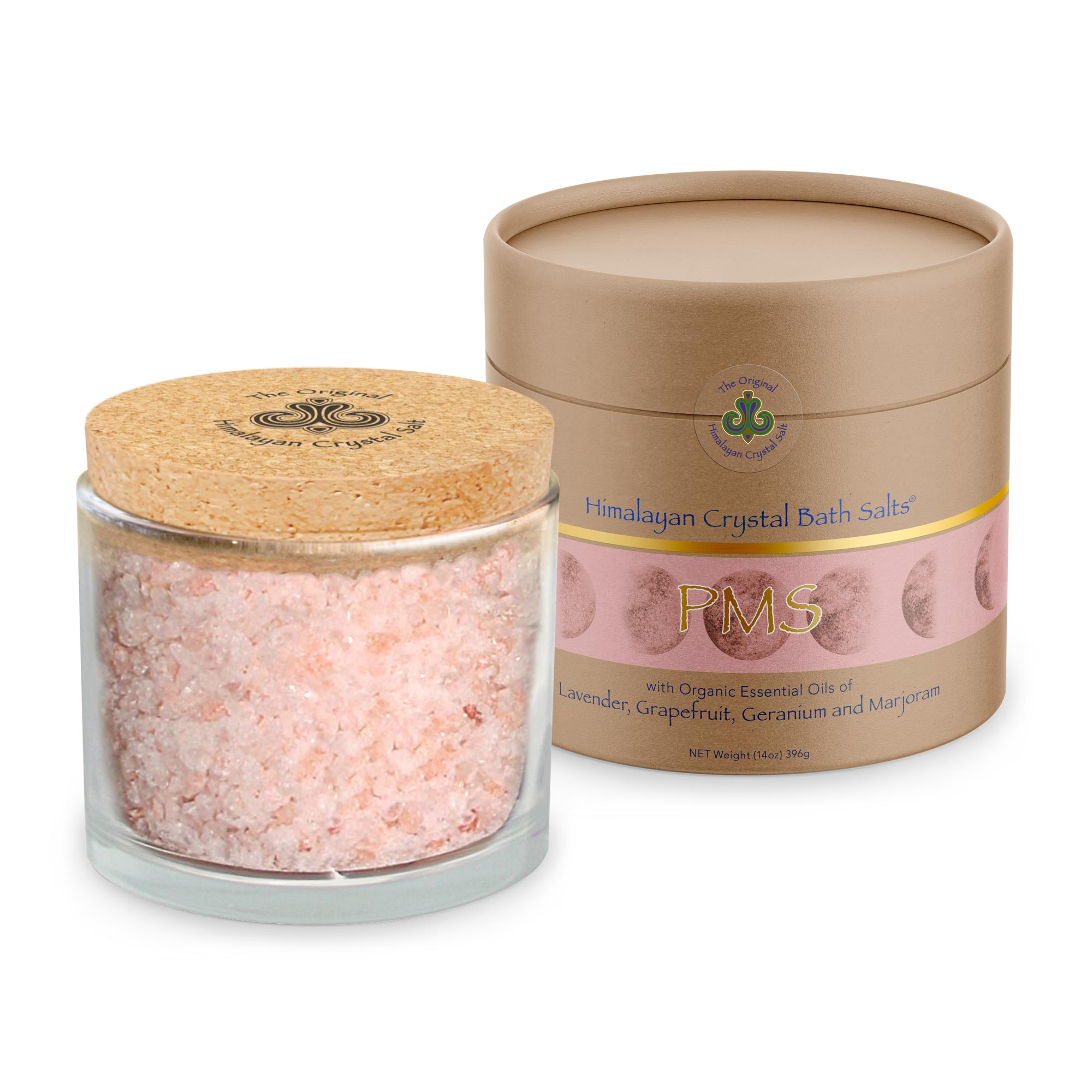 "These Original Himalayan Crystal bath salts with 100% organic lavender, grapefruit, germanium, and marjoram essential oils bring your ""me time"" to a whole new level.   Designed specifically for indulgent self-care during the time of the month that you may not be feeling at your best but can be enjoyed at any time of your cycle.  The scents of lavender, grapefruit, germanium, and marjoram provide an uplifting and calming experience while helping to soothe aches as you soak your worries away."