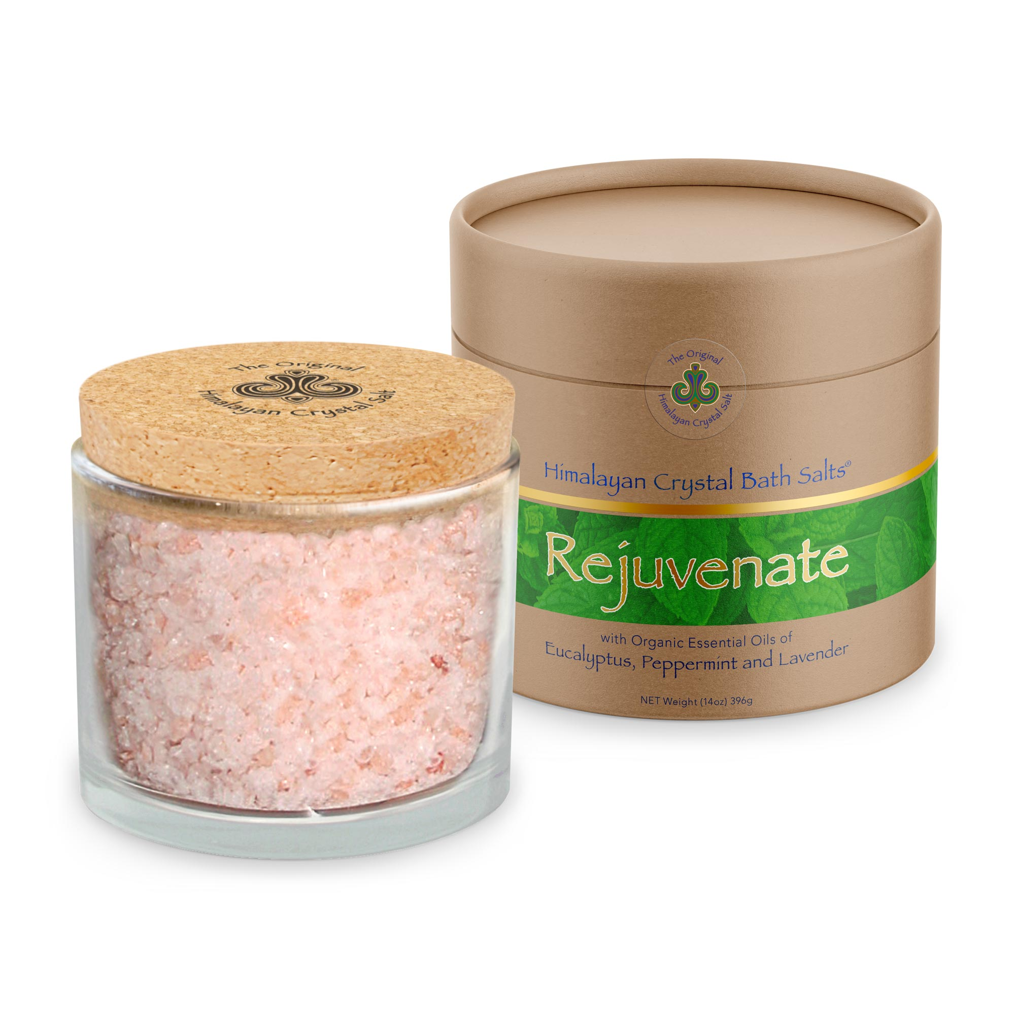 Rejuvenate with this pure bath salt blend of 100% organic eucalyptus, peppermint, and lavender essential oils.  This renewing scent helps soothe tight muscles, ease tension, and provides a deeply invigorating experience.