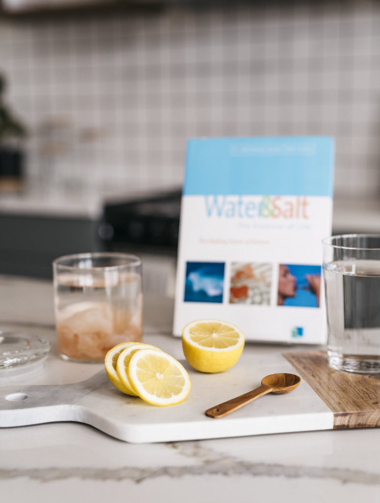 """Water & Salt: the Essence of Life"" by Dr. Hendel and Peter Ferreira with Sole and lemon water right view"