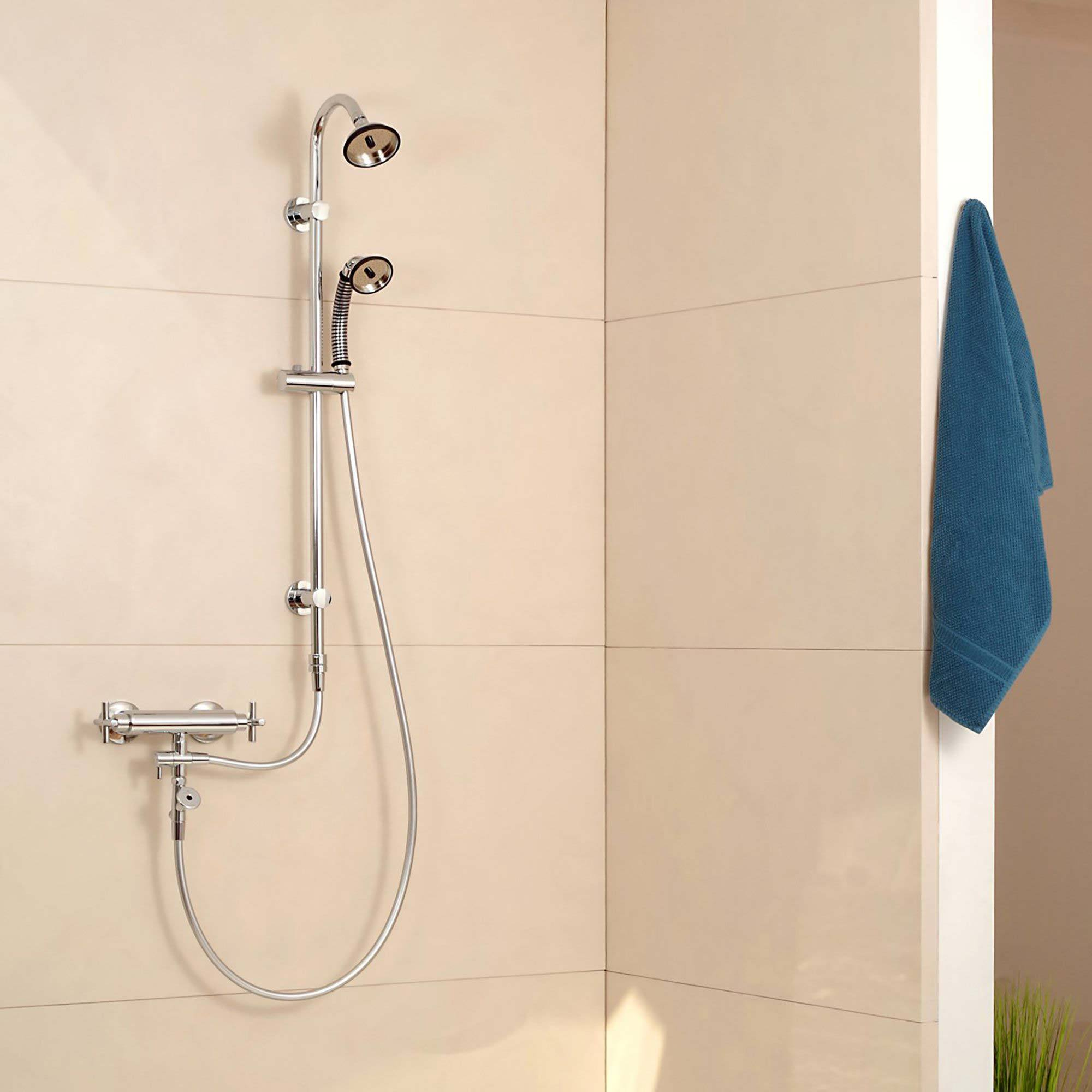 BUBBLE-RAIN® XL Shower Head & Handle Displayed in Bathroom with sold separately flex hose