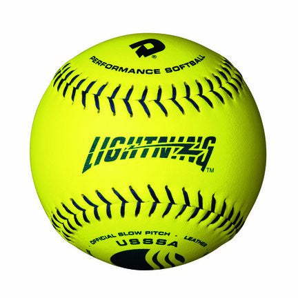 "DeMarini 12"" Lightning Yellow Leather Synthetic Polycore USSSA Softballs"