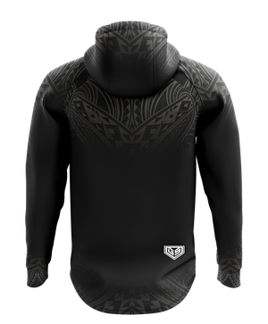 GS Sports Fleece Scuba Neck Hoodie - GSP Black Polynesian