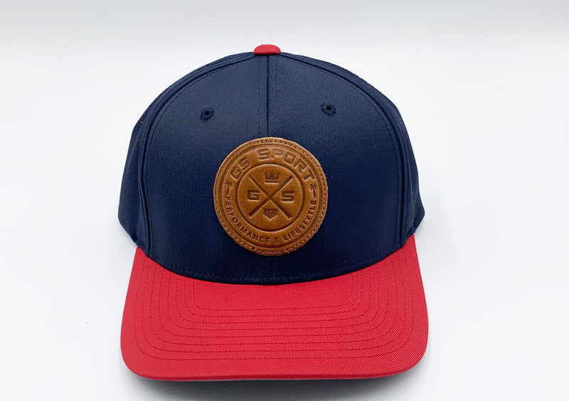 GS Sports United Performance Hat - Navy / Red with Tan Leather Patch